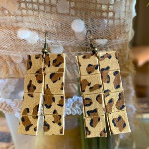 Western cowboy pant cheetah earrings. Rare!